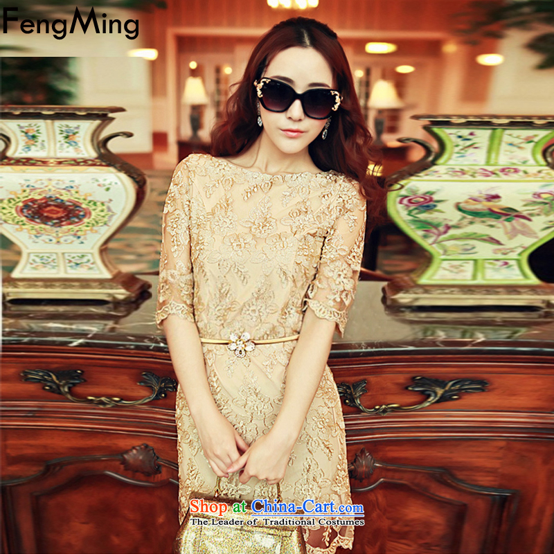 Hsbc Holdings plc Ming Moonlight Serenade stars of the same autumn 2015 new high-thread-UNIDO embroidery Internet Precious yarn lace dresses female picture color M