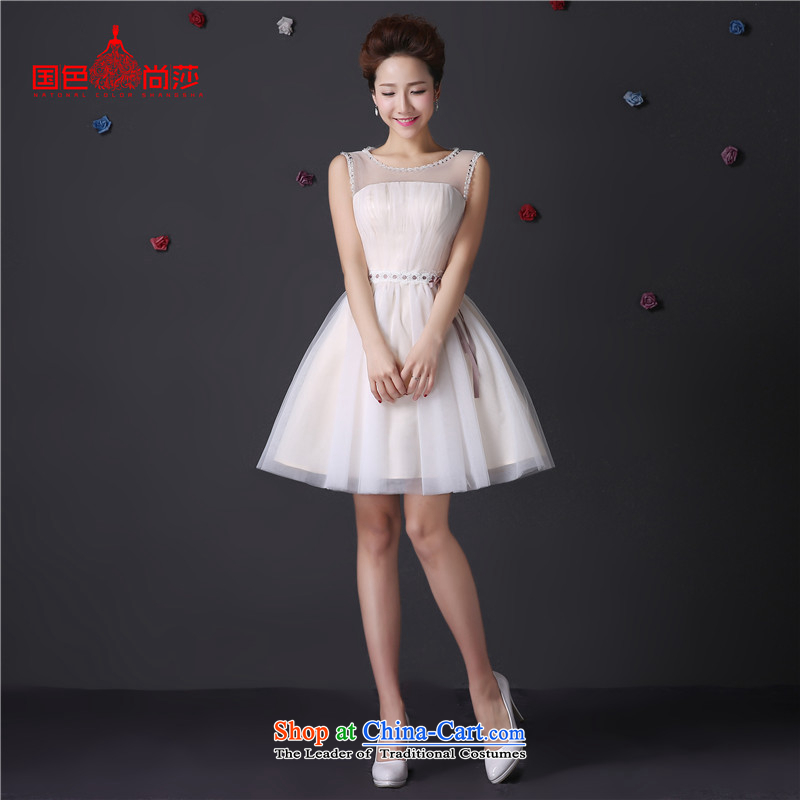 The color is sa?2015 autumn and winter bridesmaid dress with real-any pictures of short shoulders champagne color bridesmaid dress birthday party dress bon bon skirt moderator banquet at the champagne color short,?L