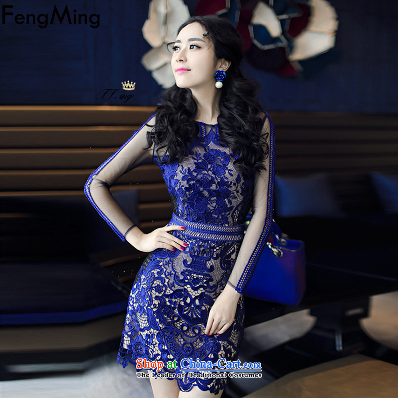 Hsbc Holdings Plc?2015 Autumn Ming Moonlight Serenade with advanced customization aristocratic temperament dress female blue heavy industry lace sexy dresses picture color?M