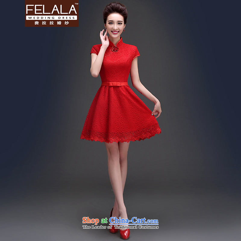 Ferrara�in the summer of 2015, Sepia Chinese collar package shoulder lace short, bows to dress�XL