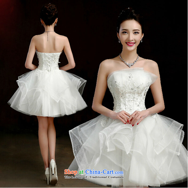 Wedding dresses new 2015 spring wiping the chest bride small Dress Short of dresses bridesmaid mission bon bon short skirts female White聽XXL