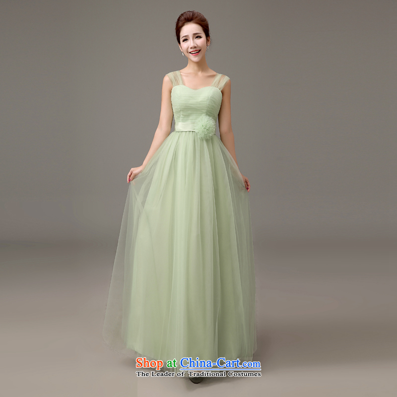 The first white into about bridesmaid serving Korean shoulder banquet evening dresses 2015 Summer New Long bridesmaid dress green bows Service Bridal Fashion�B�M
