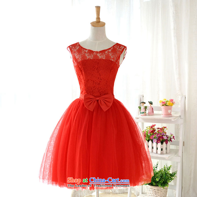Millennium bride 2015 new short, lace shoulders a small red dress bridesmaid skirt marriages straps performances bon bon skirt D6045 L/21 red