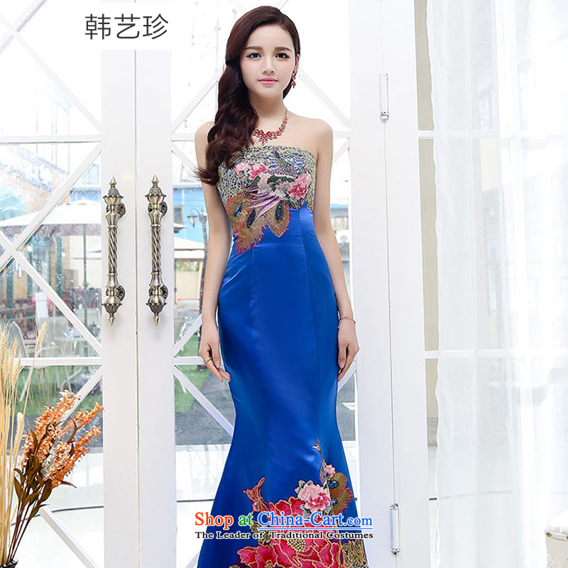 Korea Yae Jin 2015 new wedding dresses cheongsam red bride bows services spring and summer wedding dresses tail long evening dress Blue?M