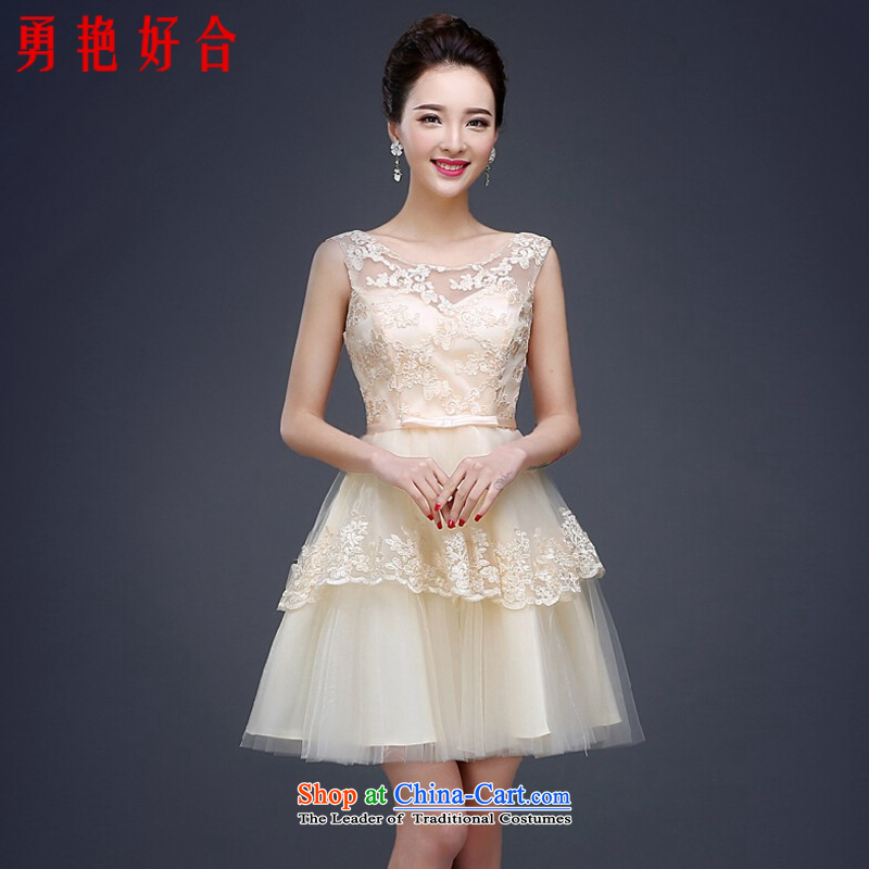 Yong-yeon and evening dresses 2015 new bows services bridesmaid services Spring Banquet dress marriage Sau San lace short, Champagne champagne color?M