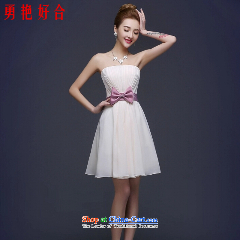 Yong-yeon and?new spring 2015 stylish marriages bridesmaid mission dress skirt banquet dinner dress short of Sau San champagne color champagne color and chest?L