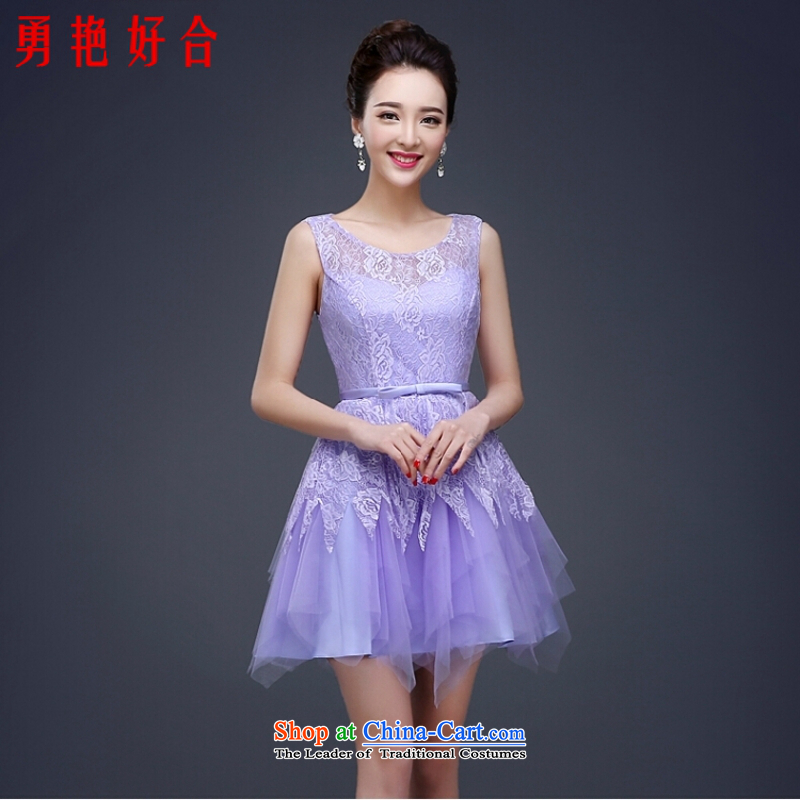 Yong-yeon and evening dresses 2015 new bridesmaid dress spring marriage Korean fashion the small dining Dress Short of Purple light purple Sau San聽XL