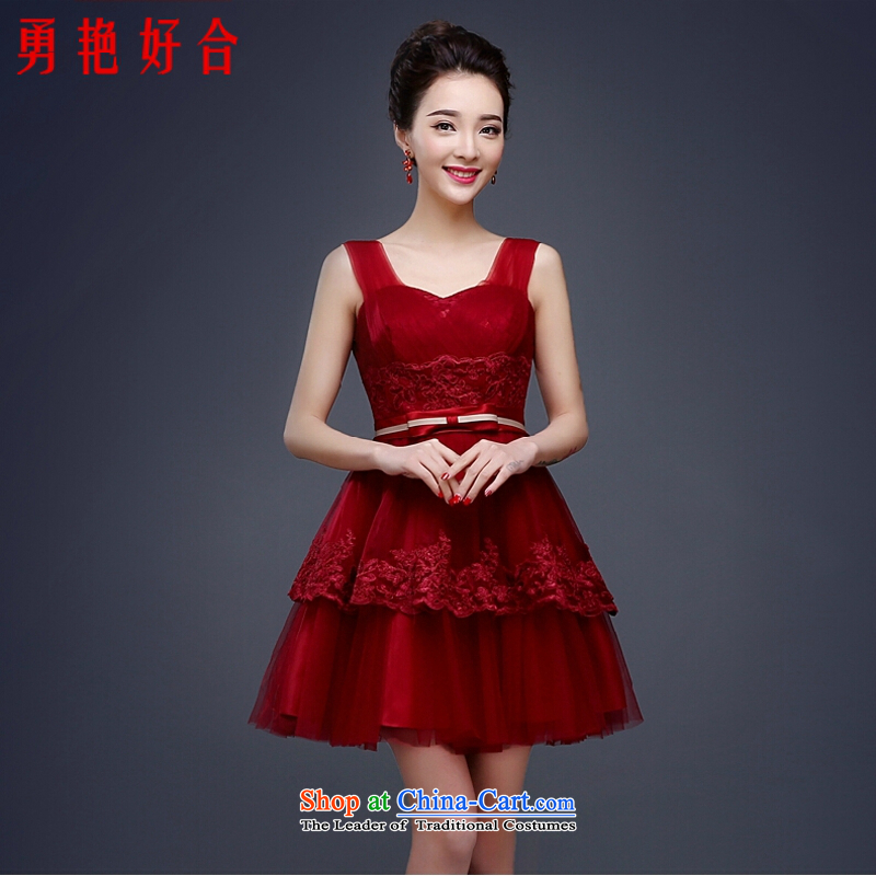 Yong-yeon and evening dresses 2015 new spring red bows Service Bridal Fashion Wedding Dress Short, Mr Ronald Sau San shoulders deep red L