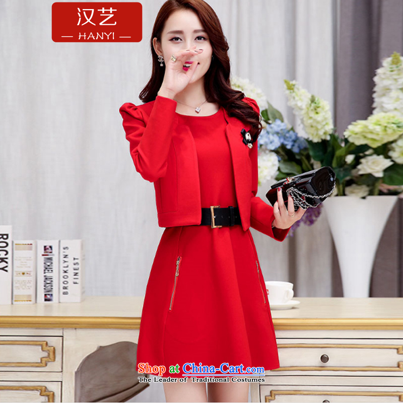 Han-yi 2015 Fall/Winter Collections Of Chinese short of small dress marriage dinner drink service bridesmaid bridal dresses back door red video thin Sau San suits skirts RED M