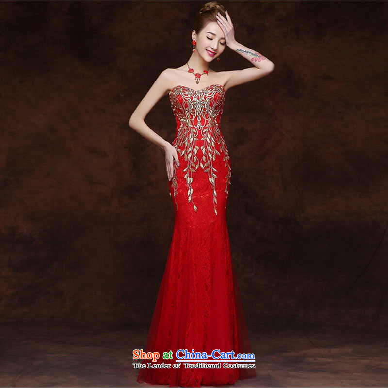 Marriages bows to the new spring 2015, Female depilation chest long evening dresses red crowsfoot wedding dresses summer red?XXL
