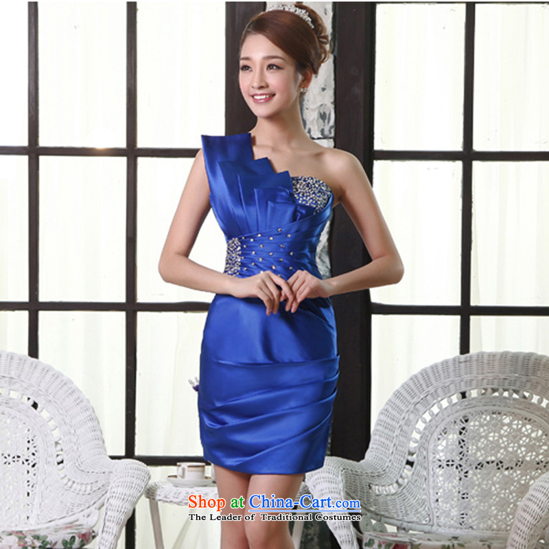 Click shoulder annual dress small Dress Short of Sau San evening dresses in spring and summer new bride bows service wedding dress moderator clothing female blue?XXL