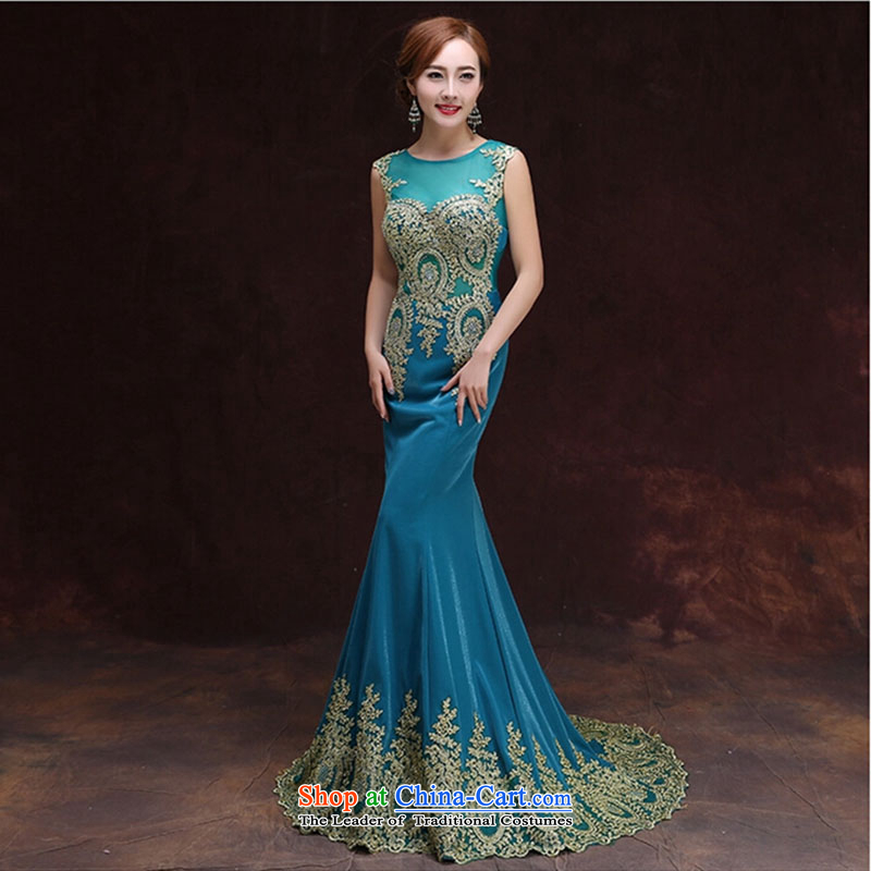 2015 Spring bride marriages bows to dress skirt Fashion small red tail crowsfoot dress the summer and fall of Sau San blue Tail M