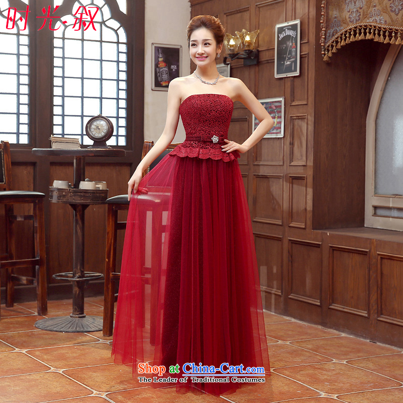 Syria wine red erase time chest dress?2015 new autumn and winter marriages bows services wine red long Night Banquet Exhibition evening wine red?S