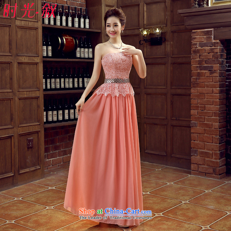 Time Syrian pink long evening dresses?2015 new autumn and winter lace marriages betrothal evening dress wiping the chest diamond will dress pink?L