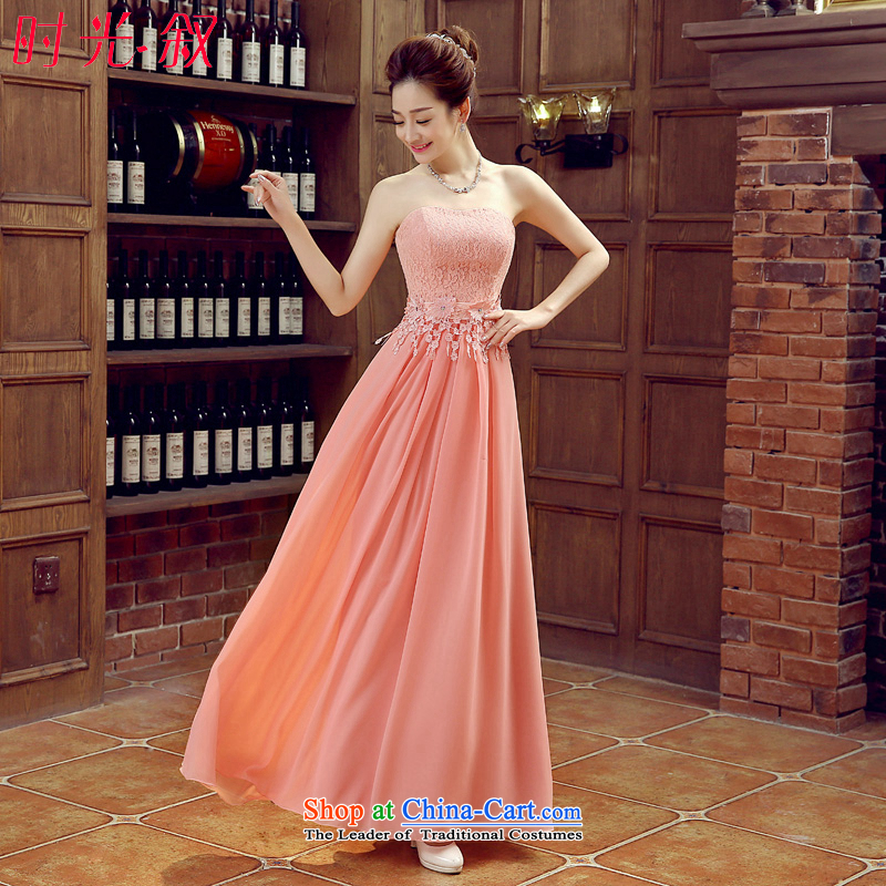 Syria bridesmaid dresses time long skirt bride evening sister wedding banquet evening dresses 2015 new autumn and winter bridesmaid mission is scheduled wedding dresses pink?M