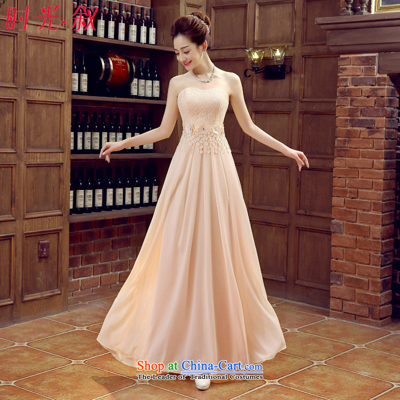 Time Syrian champagne color bridesmaid mission dress purple long length of autumn and winter evening dresses marriage bridesmaid sister skirt Vehicle Exhibition Service Bridal Services will drink Champagne Evening聽XL