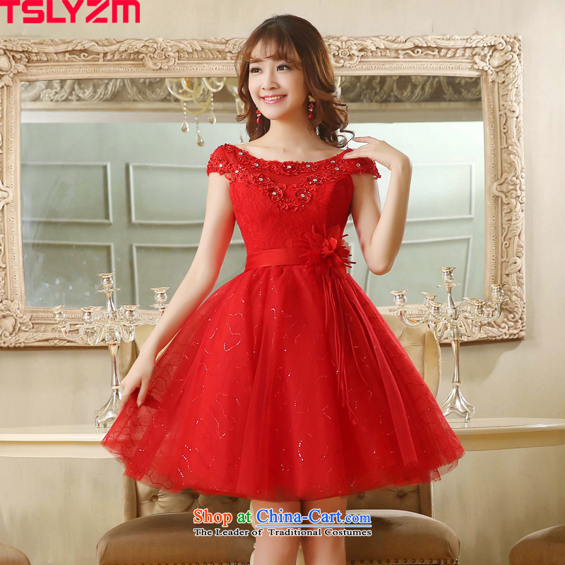 Toasting champagne bridal dresses tslyzm shoulders short of summer 2015 Autumn new red flower short skirts Korea version manually water drilling small dress bon bon skirt red L