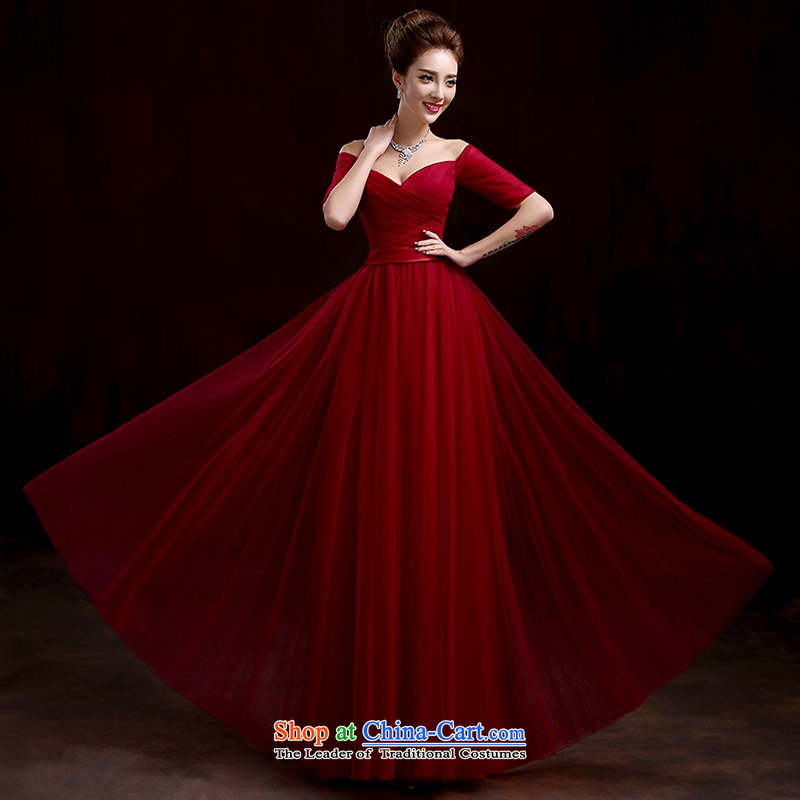 Pure Love bamboo yarn 2015 new red bride wedding dress long evening dresses evening drink service in the irrepressible cuff Sau San dress dark red tailored please contact Customer Service