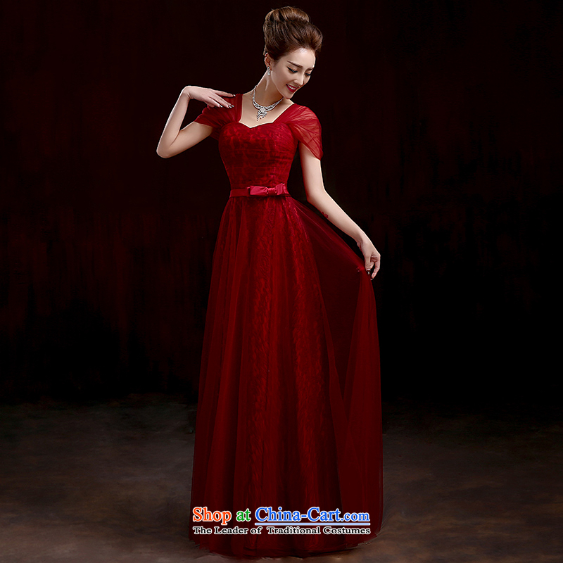 Marriages bows services wine red long gown New Sau San evening dresses new Korean long red dress package shoulder deep red?S