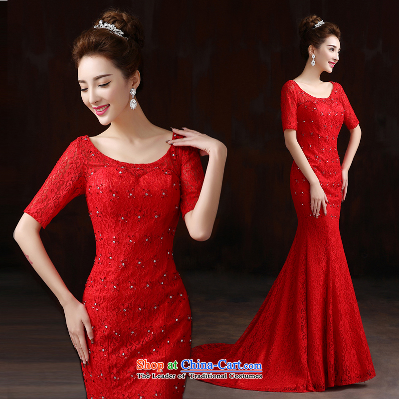 Pure Love bamboo yarn long evening dress upscale embroidered frockcoat pearl crowsfoot bows service bridal dresses will short-sleeved gown spring red tail?M