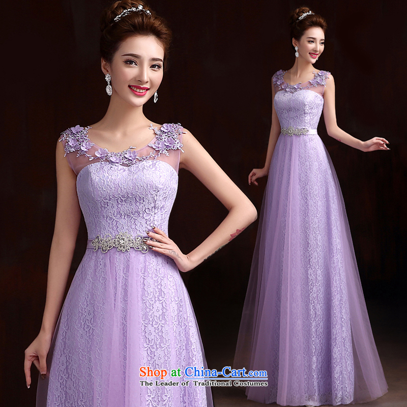 Pure Love bamboo yarn wedding dresses Top Loin of Korean long thin dark green dress graphics evening dresses purple lace show new dress with a light purple S