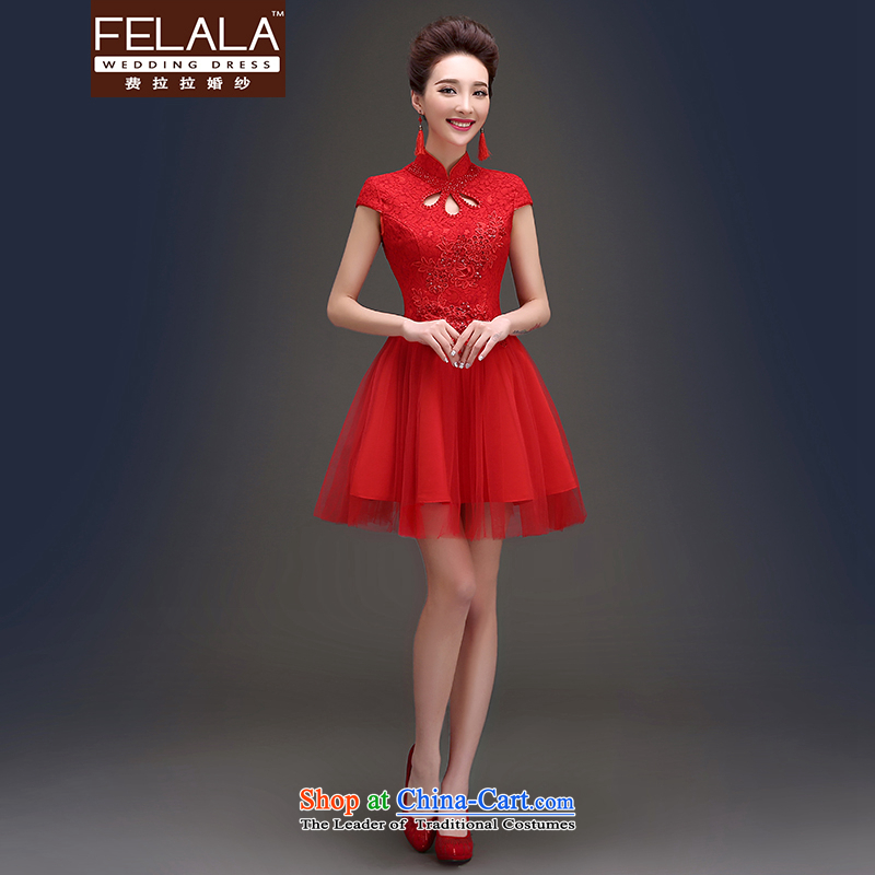 Ferrara?in the summer of 2015, the new retro collar short of Chinese long serving dinner drink Dress Short?M