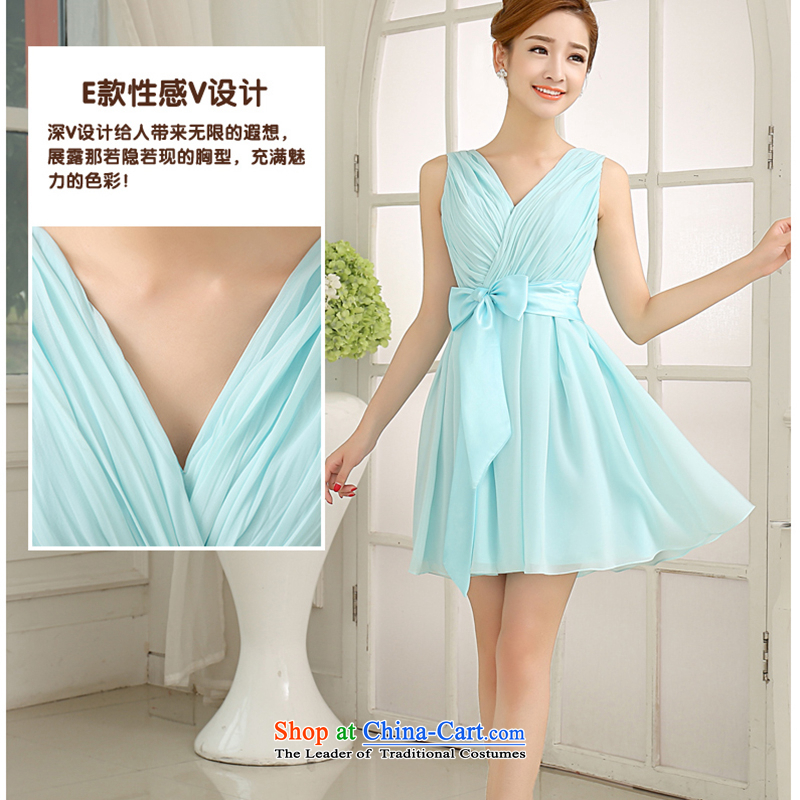 The first white into about 2015 NEW SKY BLUE shoulders bridesmaid Dress Short of mission sister mission bridesmaid services small dress skirt bridesmaid dress E S