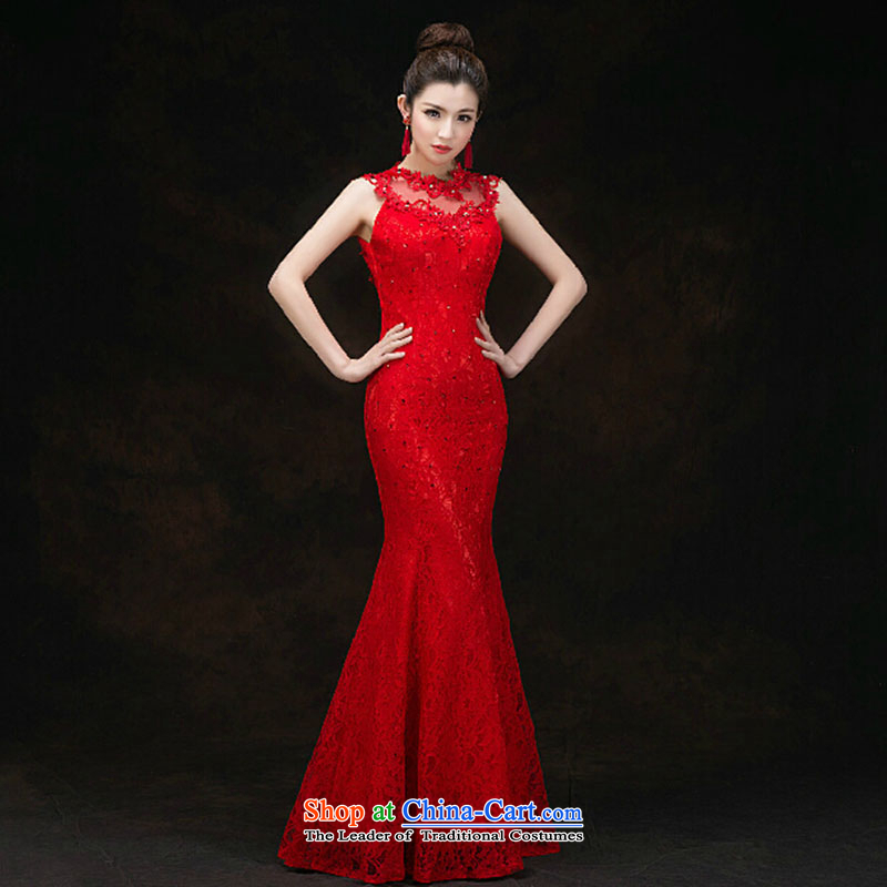 The bride dress 2015 spring and fall of marriage bows dress long red crowsfoot package and back lace spring and summer evening dresses red?XXL