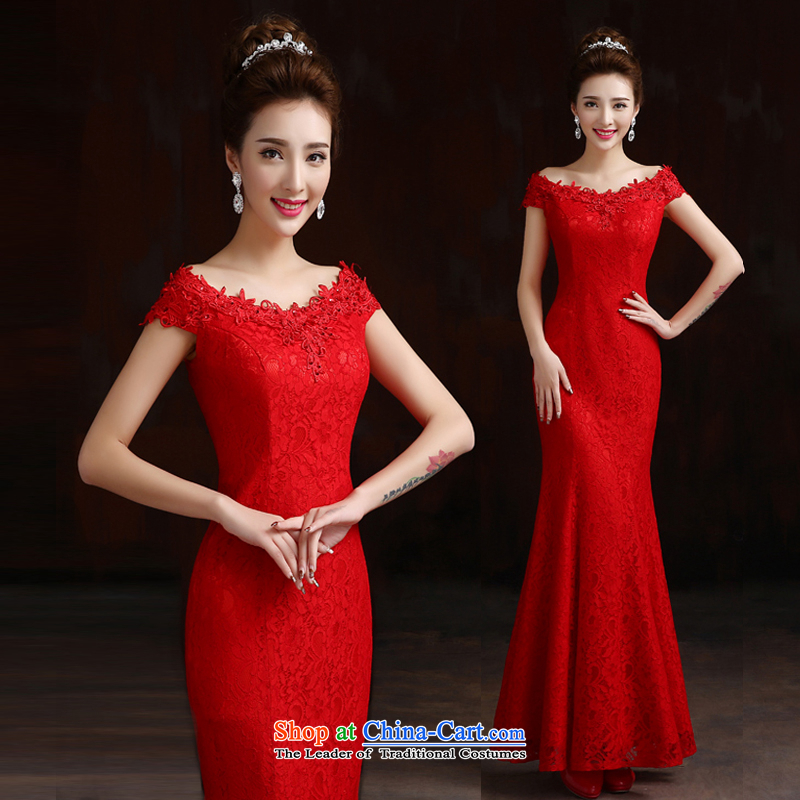 Pure Love bamboo yarn 2015 new bride wedding dresses bridesmaids_Sau San dress boutique word shoulder crowsfoot dress Korean lace dress spring red tailored please contact Customer Service