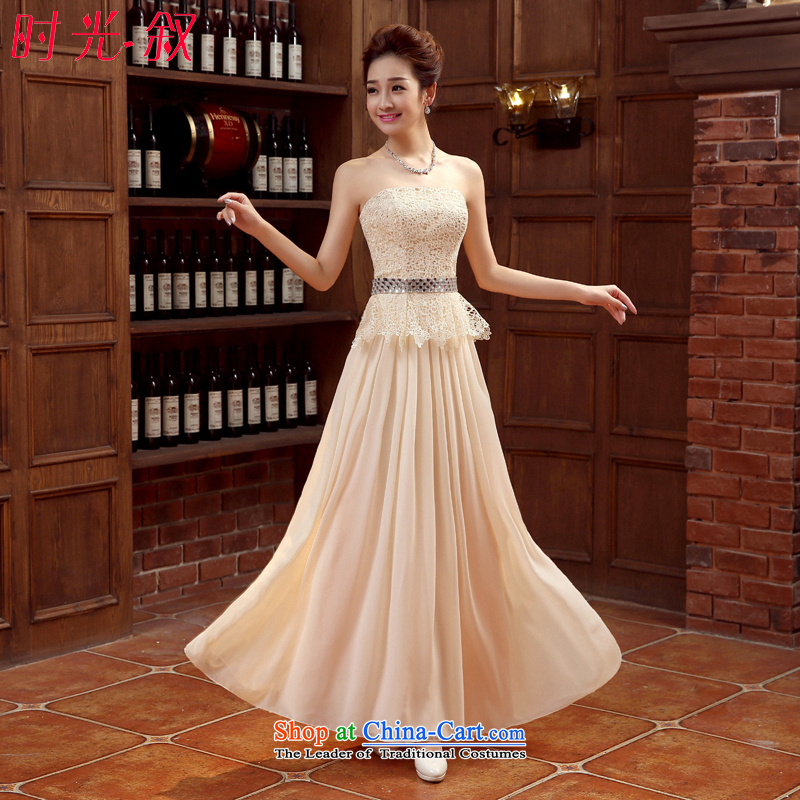 Time evening dresses and Syria Sau San chest bridesmaid dress skirt or sisters dress chiffon lace dresses champagne color bows dress Vehicle Exhibition will female gold?M