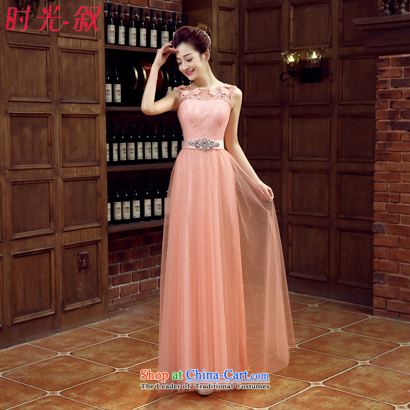 The Syrian Arab Republic?2015 autumn and winter time new bride bows to bare pink wedding dresses marriage long moderator banquet evening dress shoulders Vehicle Exhibition dress bare pink?L