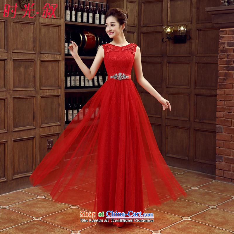 The Syrian brides bows service time married long dresses wedding banquet evening moderator evening dress shoulders adhesive spend large red dress XL