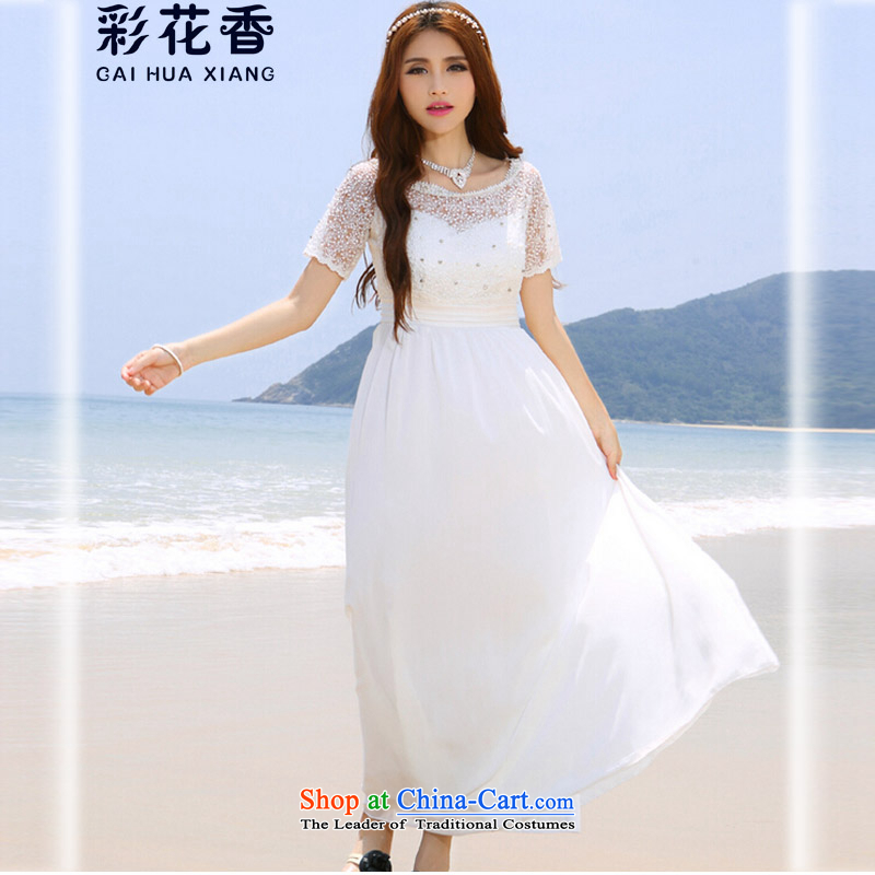 The fragrance of?    2015 New Multimedia Maldives beach skirt wedding dresses nail-ju diamond Bohemia long long skirt 6041 White?L