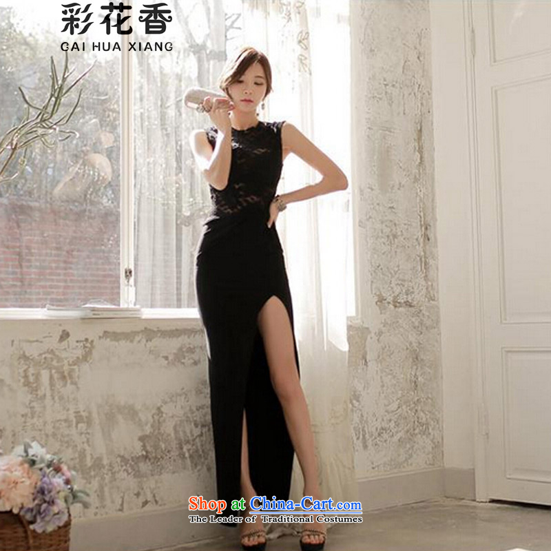 The fragrance of the�   spring and summer of 2015 also new women lace stitching sexy sleeveless tank dresses temperament long skirt dress 8246 Black�S