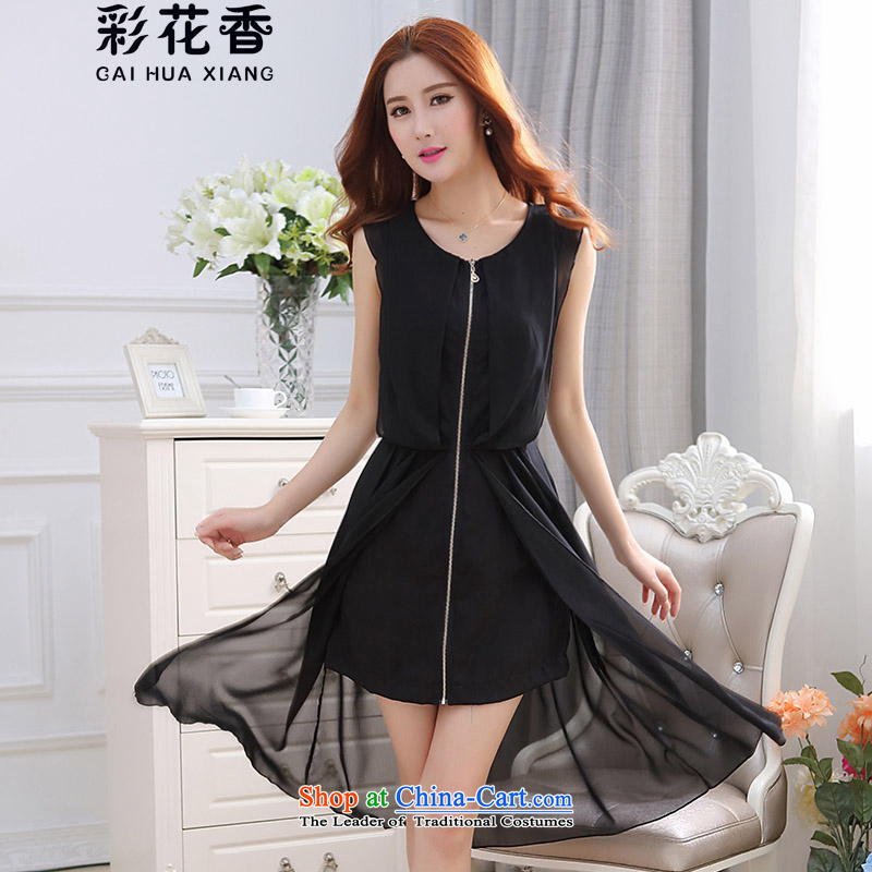 The fragrance of?   2015 Korean multimedia gentlewoman sleeveless singlet that long chiffon dresses Female dress skirt female 9221 Black?M