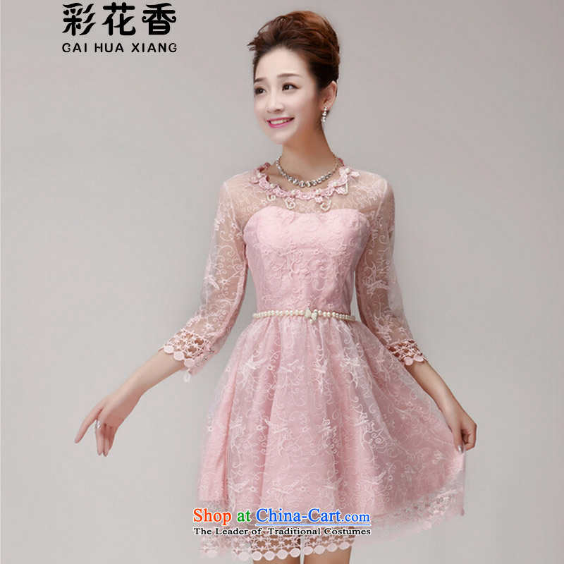 The fragrance of聽   2015 New Multimedia summer nail Pearl Princess skirt dresses Sau San champagne color and chest bridesmaid small dress 696 pink聽L