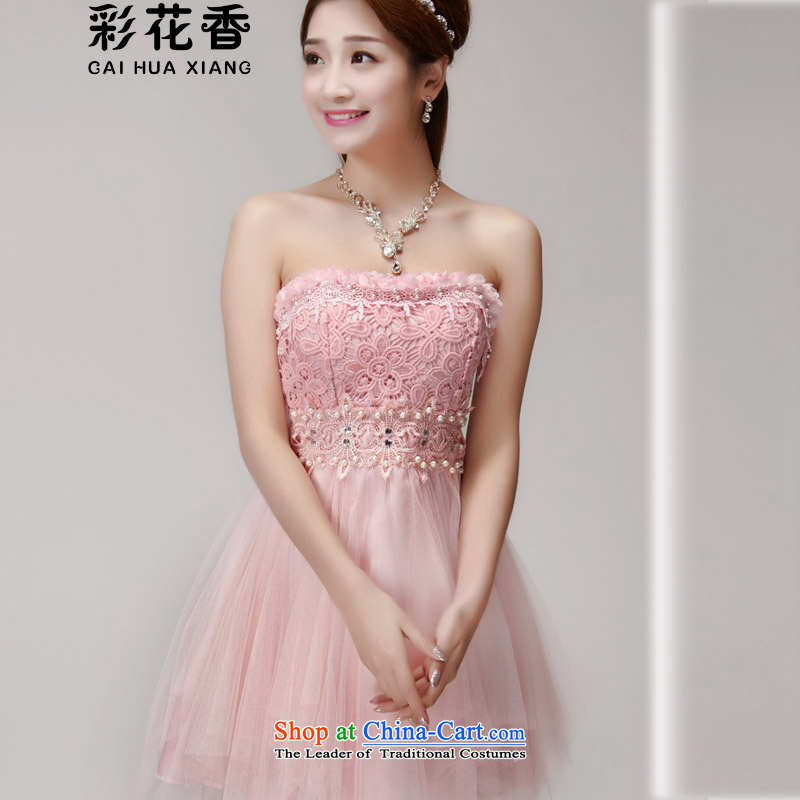 The fragrance of�   2015 Summer multimedia manually staple pearl diamond temperament and Sau San chest dresses bridesmaid groups dress skirt 6013 pink�M