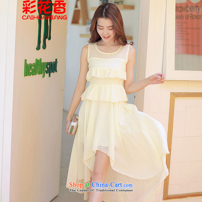 The fragrance of?  2015 Summer multimedia new Korean chiffon dresses irregular long skirt front stub long after dovetail dress rose from 118.85 champagne color?S