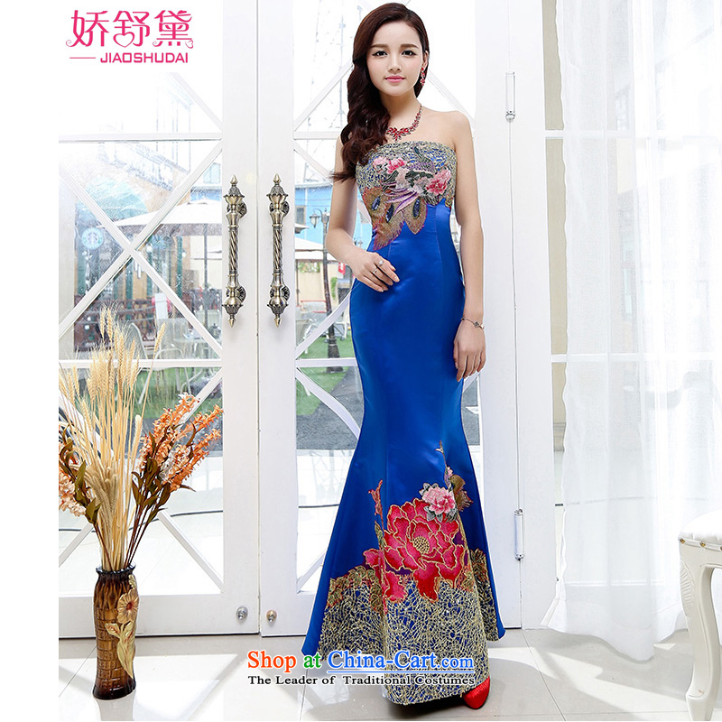 To Doi Shu?2015 new wedding dresses cheongsam red bride bows services spring and summer wedding dresses tail long evening dress blue?XL