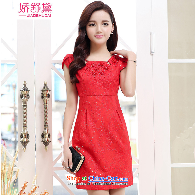 To Shu Doi summer short of Chinese small dress marriage dinner drink service back to the door of the bride red video thin Sau San suits skirts red XXL