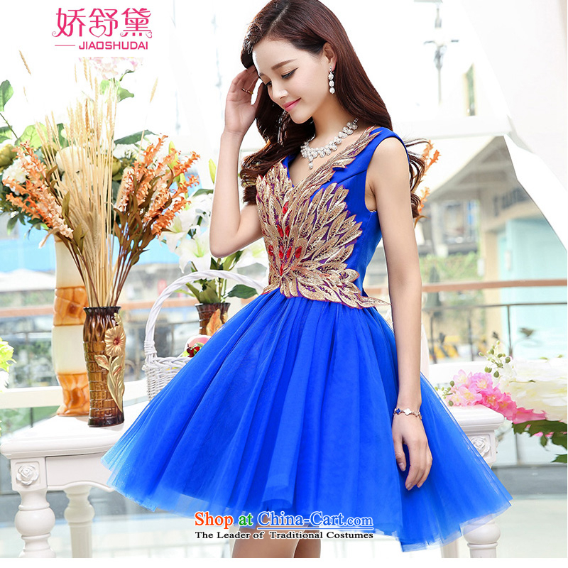 To Doi Shu� 2015 Summer sexy V-Neck Dress Short of dresses bridesmaid dress bride bows services sleeveless marriage evening dress blue�L