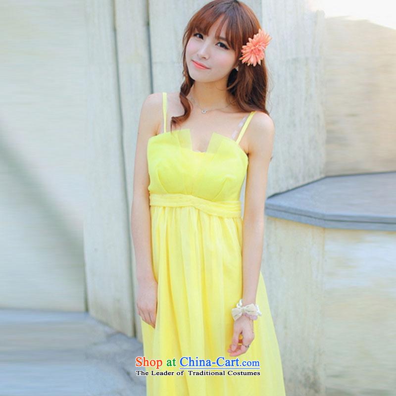 In accordance with the pure聽2015 Connie snow silk dress Sau San dresses retro gliding temperament goddess long skirt cents 5011 Yellow聽M