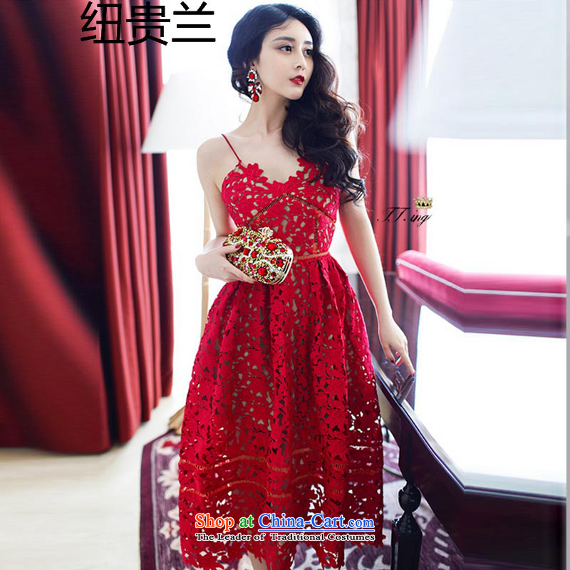 The estimated 035#2015 NZ summer new Moonlight Serenade Sui small-tong network red lace water-soluble engraving strap dresses red�XL