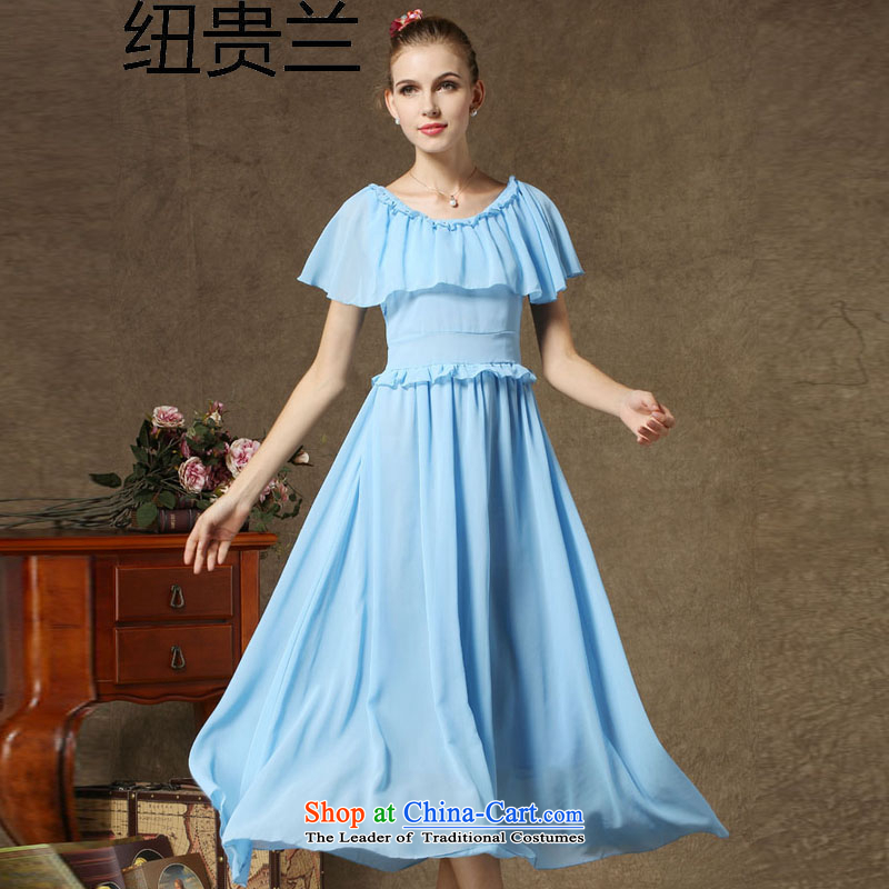 The estimated new NZ high quality low-key terrace Heung-shoulder dresses retro cloak Skirts�1�light blue�M