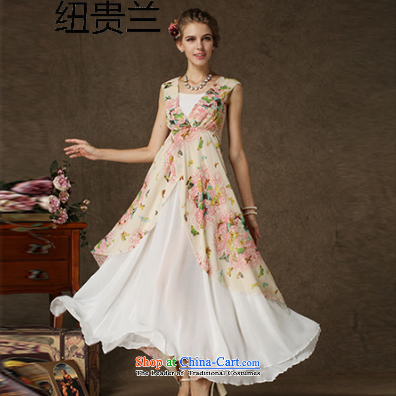 The estimated Korea Composite NZ population stamp butterfly spell white pearl chiffon double-decker Big Swing dresses picture color�S