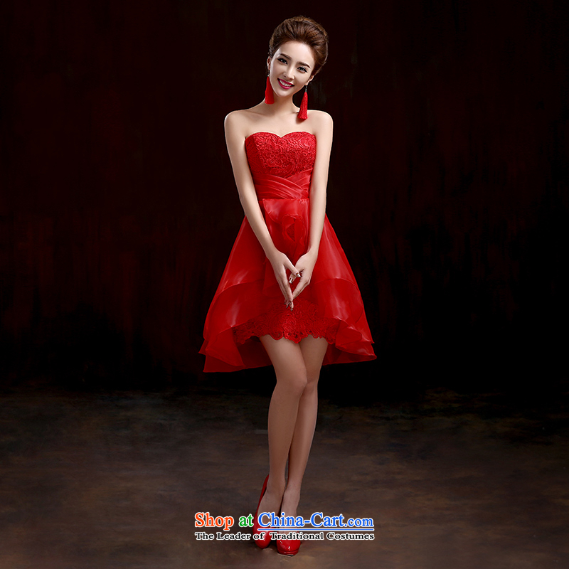 Pure Love bamboo yarn wedding dresses new small Dress Short, Red Dress lovely bride dress performances Sau San dress stage shows red dress?XXL
