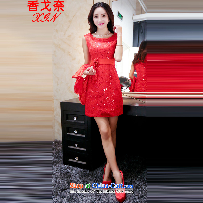 The new Hong Kong Golan women short of a small red dress strap dresses bon bon gauze short skirt wedding dresses and sisters toasting champagne bride bridesmaid skirt annual dress red聽XXL