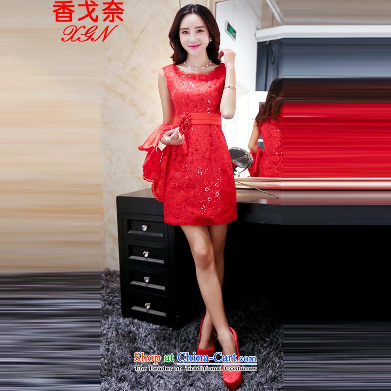 The new Hong Kong Golan women short of a small red dress strap dresses bon bon gauze short skirt wedding dresses and sisters toasting champagne bride bridesmaid skirt annual dress red�XXL
