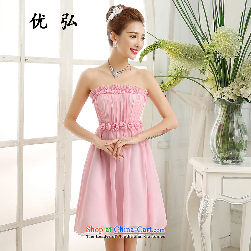 Optimize the new 2015 Hong-bridesmaid Dress Short, wipe the chest small dress skirt bride wedding dinner serving mz5911 bows pink are code