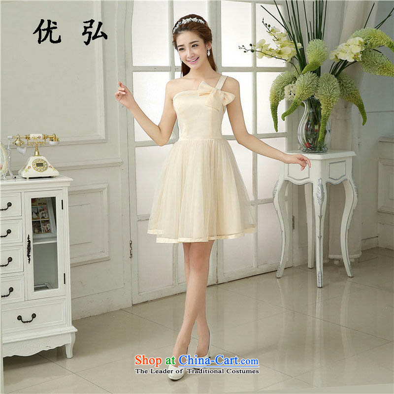 Optimize the NEW Summer Hong-short bridesmaid dresses, dinner dress marriages bows services will serve Korean mz5844 sister champagne color code